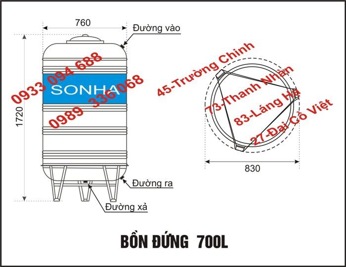 Thong so ky thuat bon nuoc dung 700l
