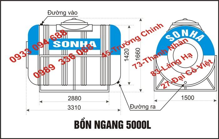 Thông số kỹ thuật bình 5000 lít ngang